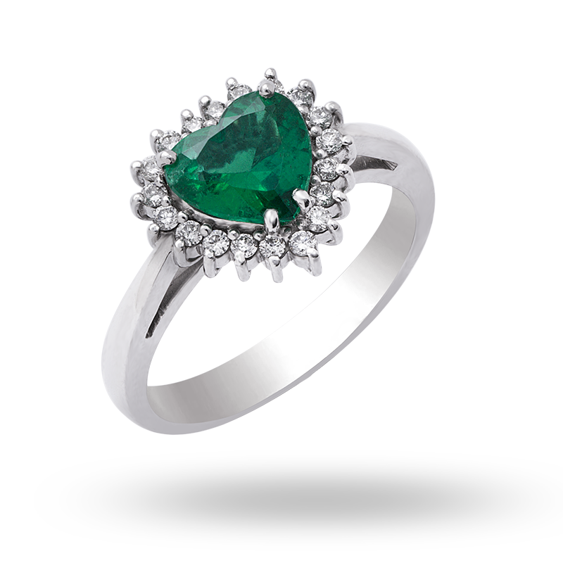 White Gold Heart Shaped Emerald Cluster Ring
