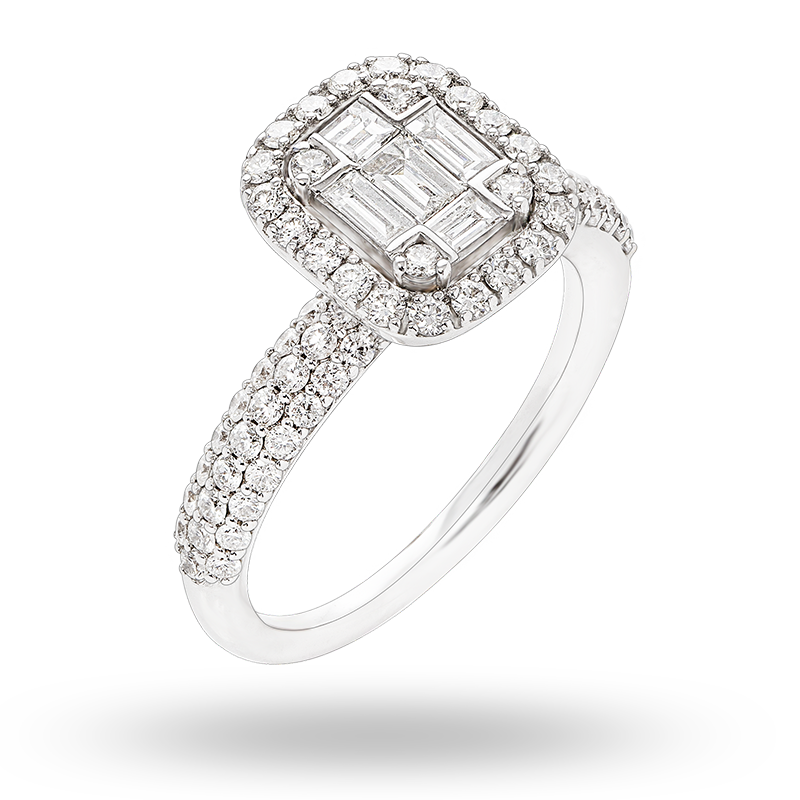 Illusion set white gold Diamond Ring