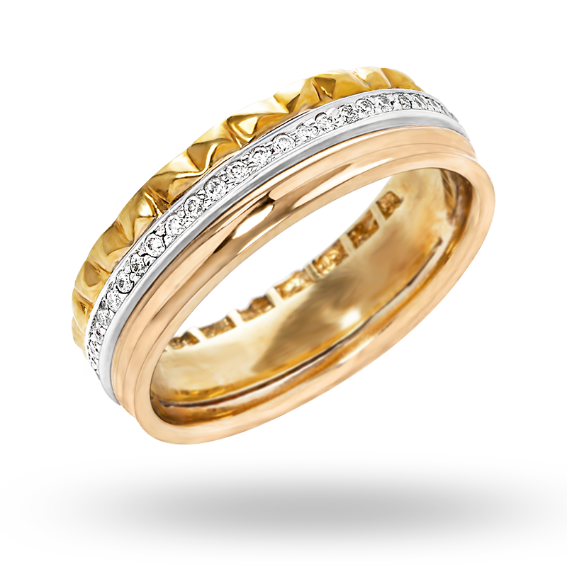 Channel set White, Yellow and Rose gold Diamond Ring