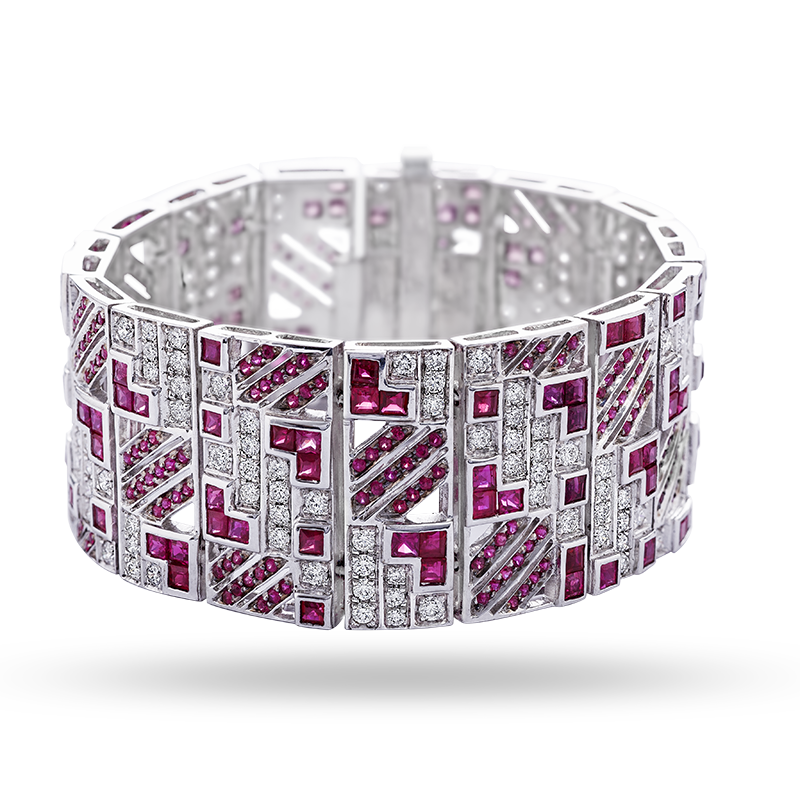 Channel Set Ruby and Diamond Bangle