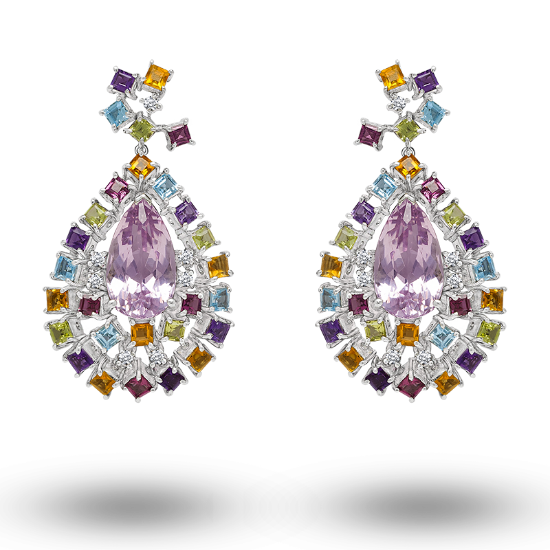 White Gold Kunzite Earrings