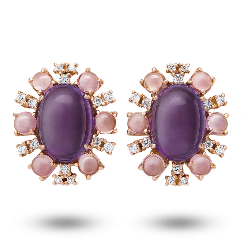 Rose Gold Amethyst Cabochone Earrings
