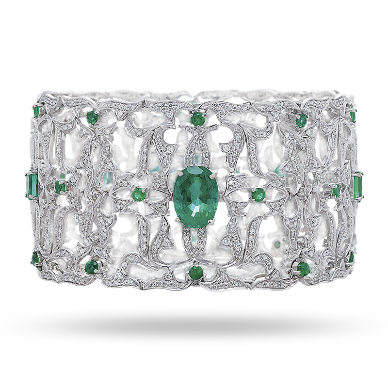 Intricately Hand Crafted Emerald Bangle