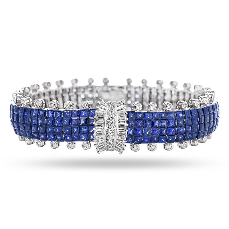 Invisible set Blue Sapphire and Diamond Bracelet