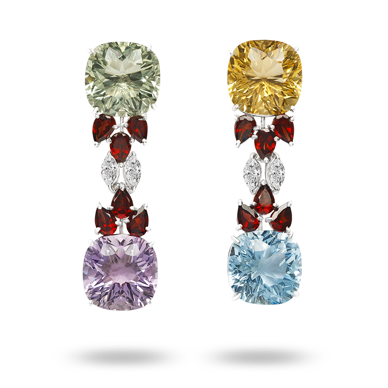 White gold Semi Precious Gemstone Earrings