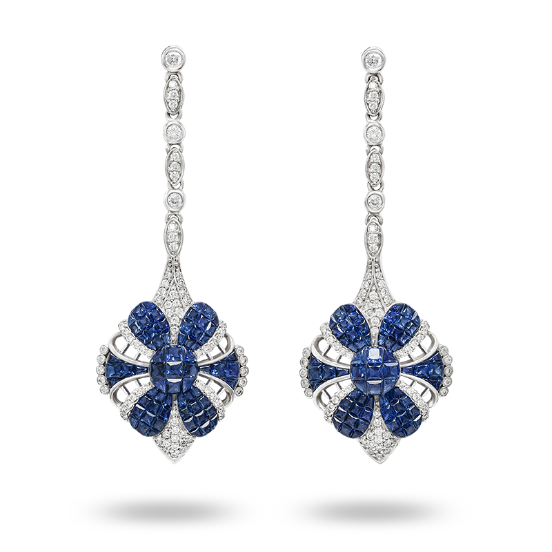 Invisible set Blue Sapphire and Diamond Earrings