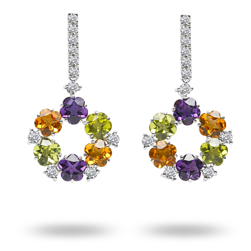 Fancy Coloured Semi Precious Gemstone Earrings