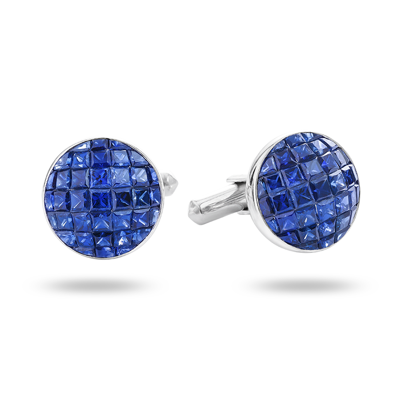 Invisible set Blue Sapphire and Diamond Cufflinks