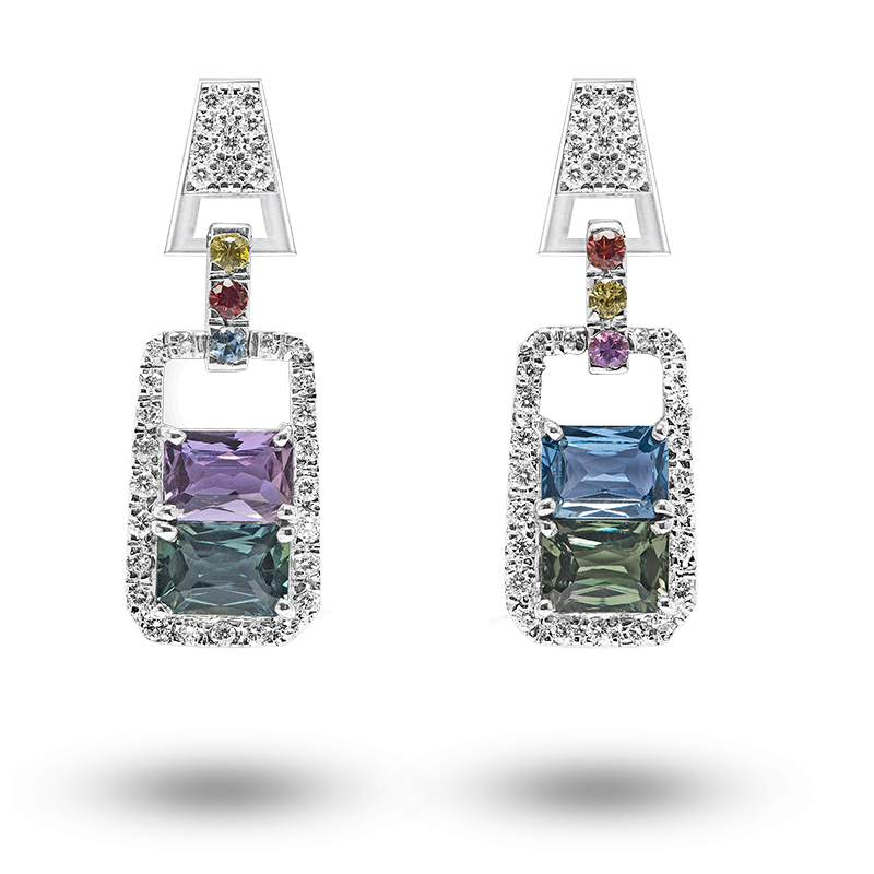 Fancy Coloured Sapphire Earrings