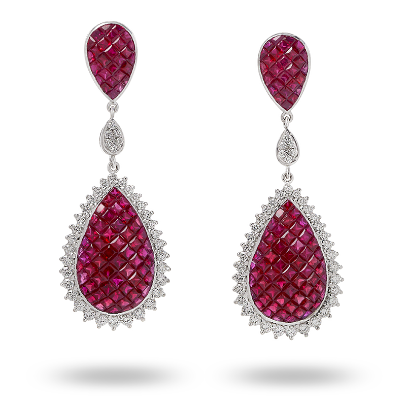 Invisible Set Ruby and Diamond Earrings
