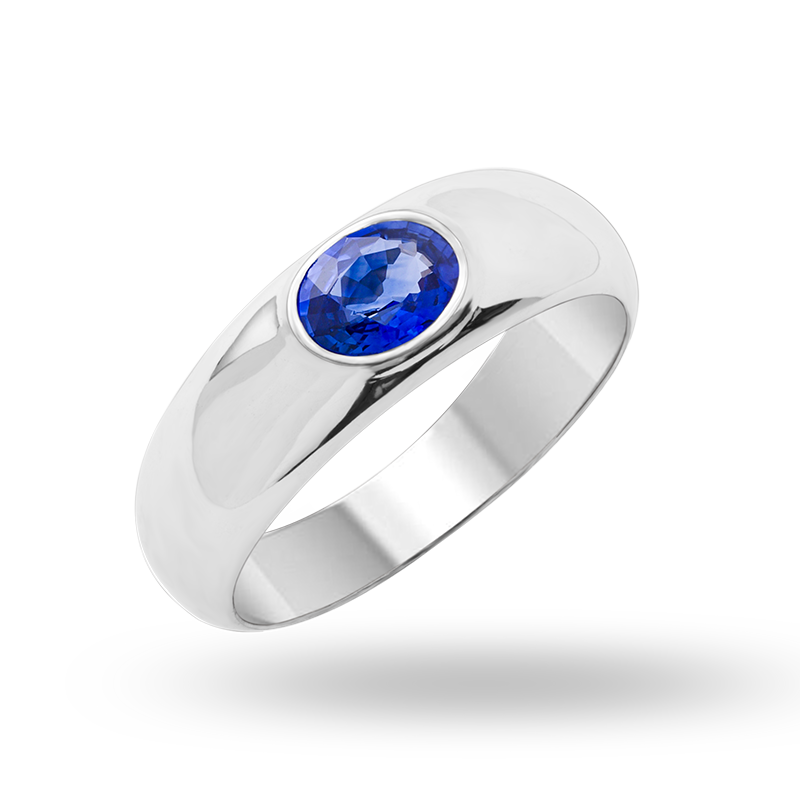 White Gold Blue Sapphire Ring