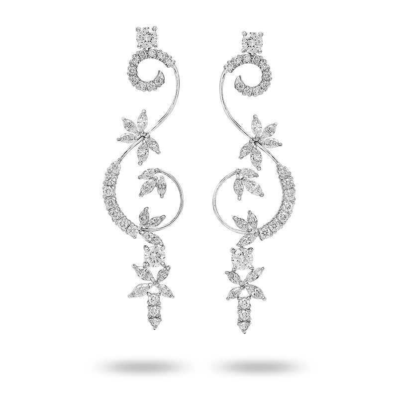 White Gold Long Diamond Earrings