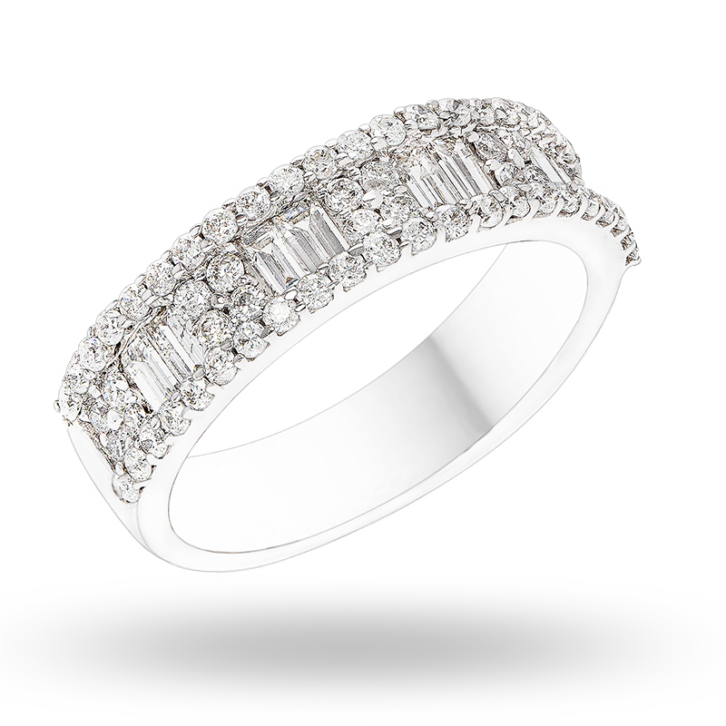 Channel set White gold Diamond Ring
