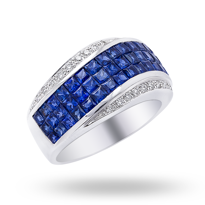 Invisible set Blue Sapphire and Diamond Ring