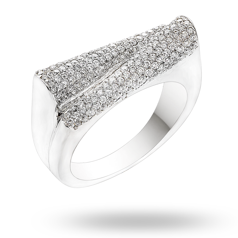 Pave Set White Gold Diamond Ring