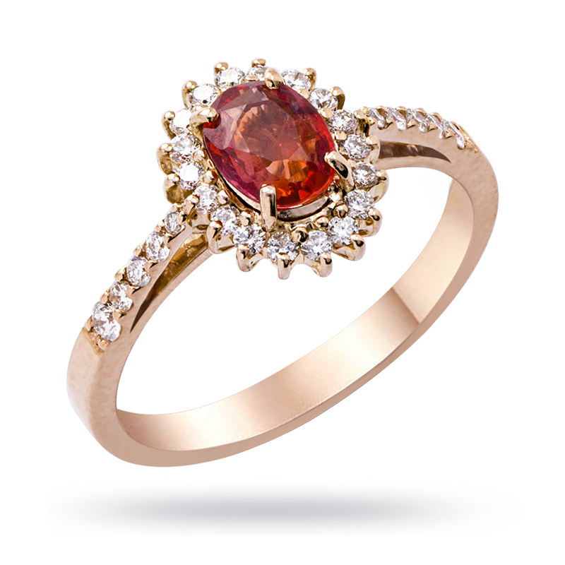 Rose Gold Padparadscha Ring