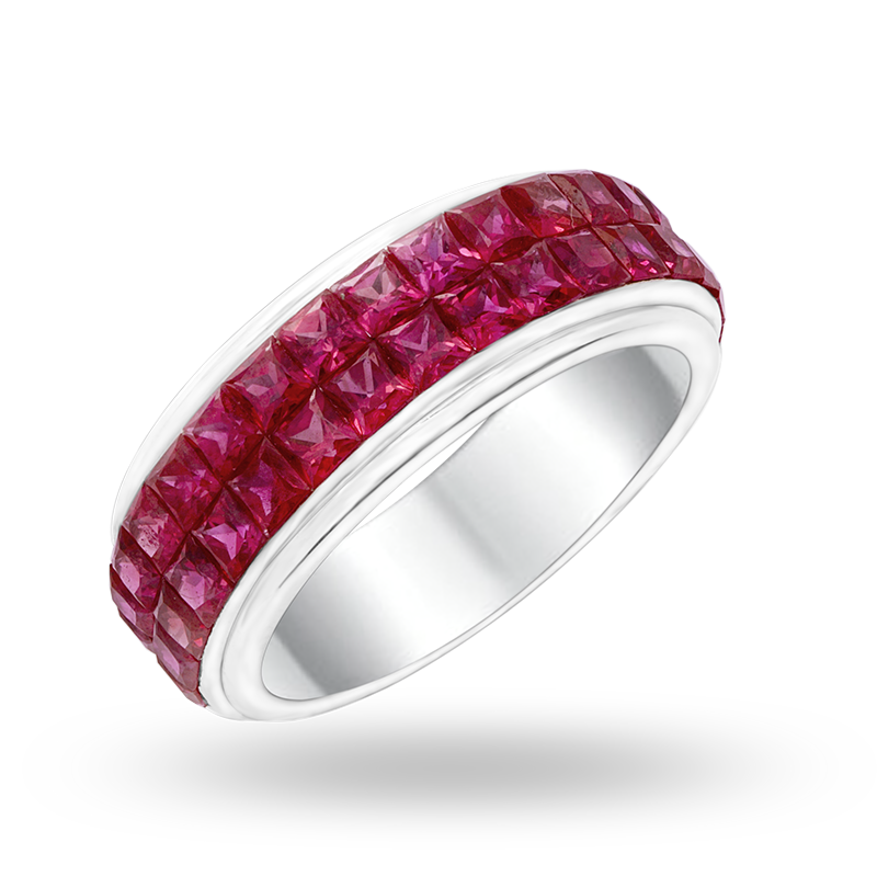 Invisible Set White Gold Ruby Ring