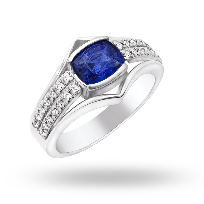 Channel set White gold Blue Sapphire and Diamond Ring