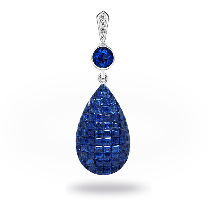 Invisible set Blue Sapphire and Diamond Pendant