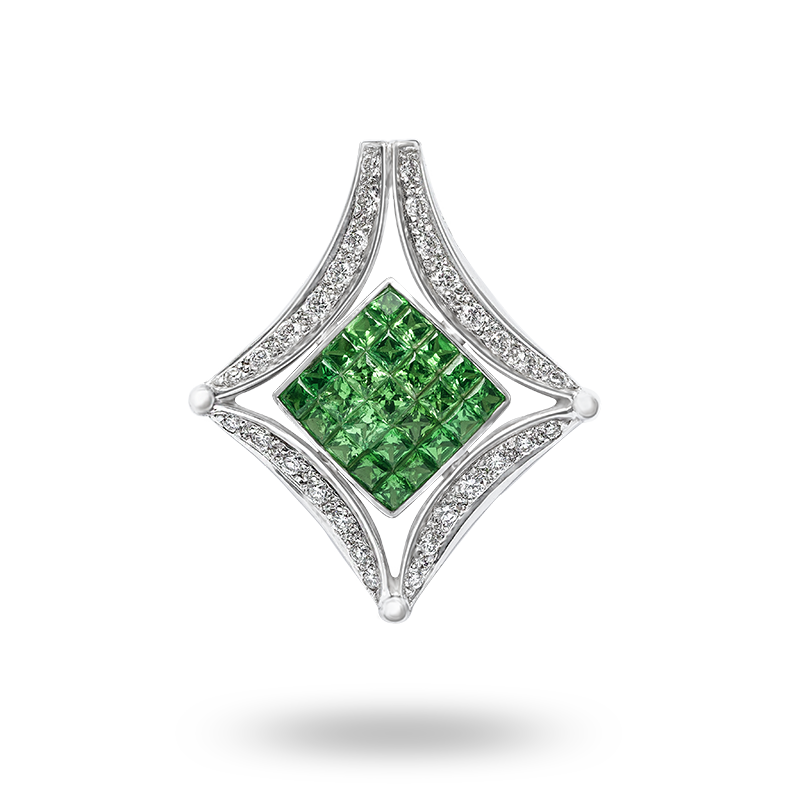 Invisible Set Tsavorite and Diamond Pendant