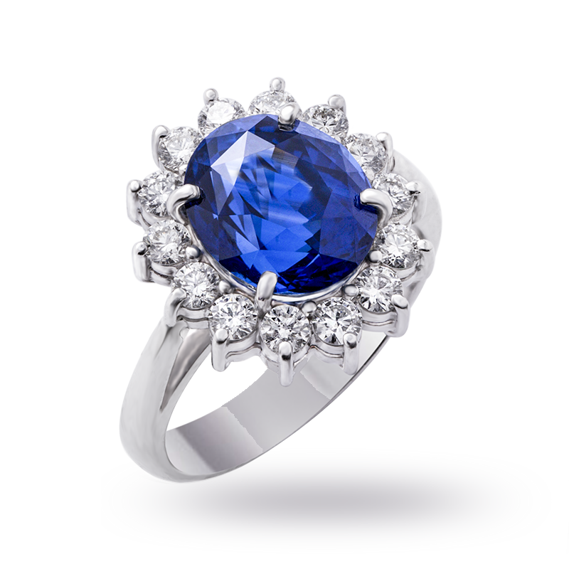 Blue Sapphire and Diamond Cluster Ring