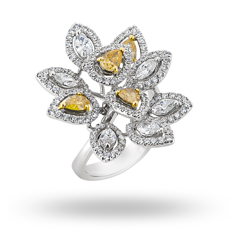 Flower Motif Diamond Ring
