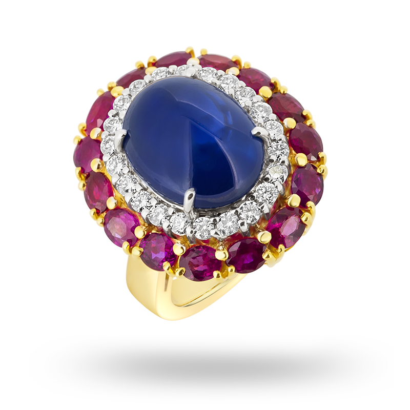 Blue Sapphire Cabochon Ring