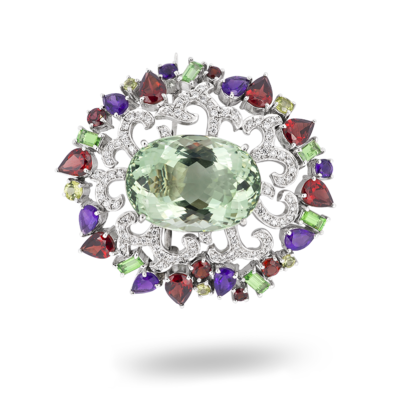 Green Amethyst Brooch