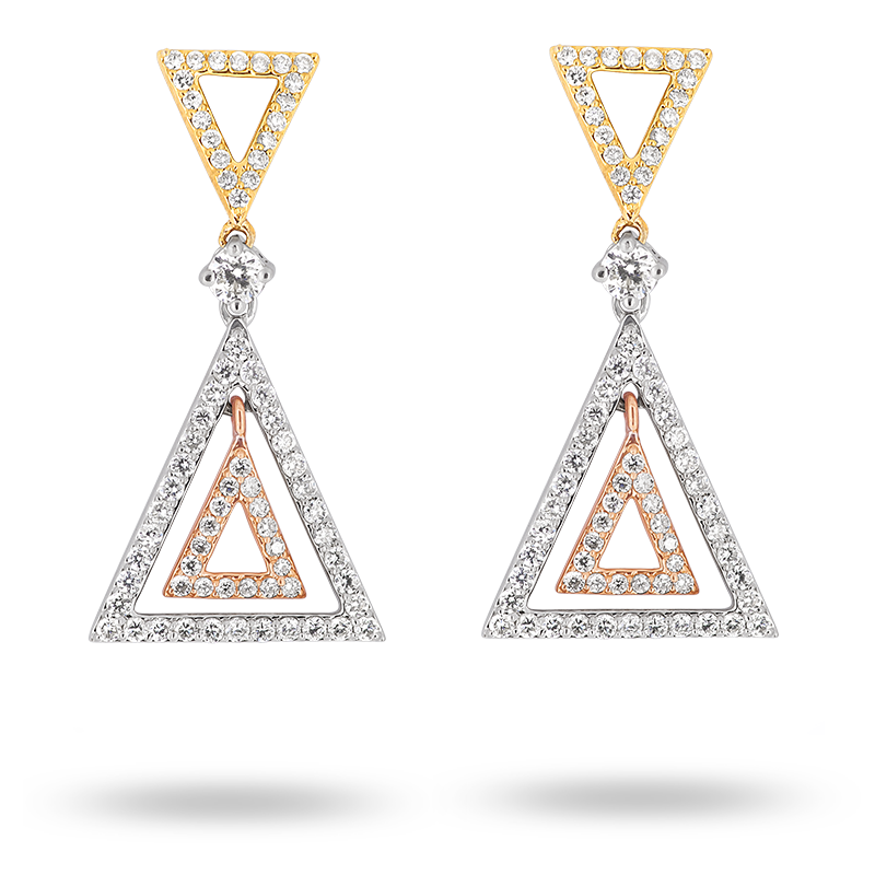 Triangular Shaped Diamond Earrings