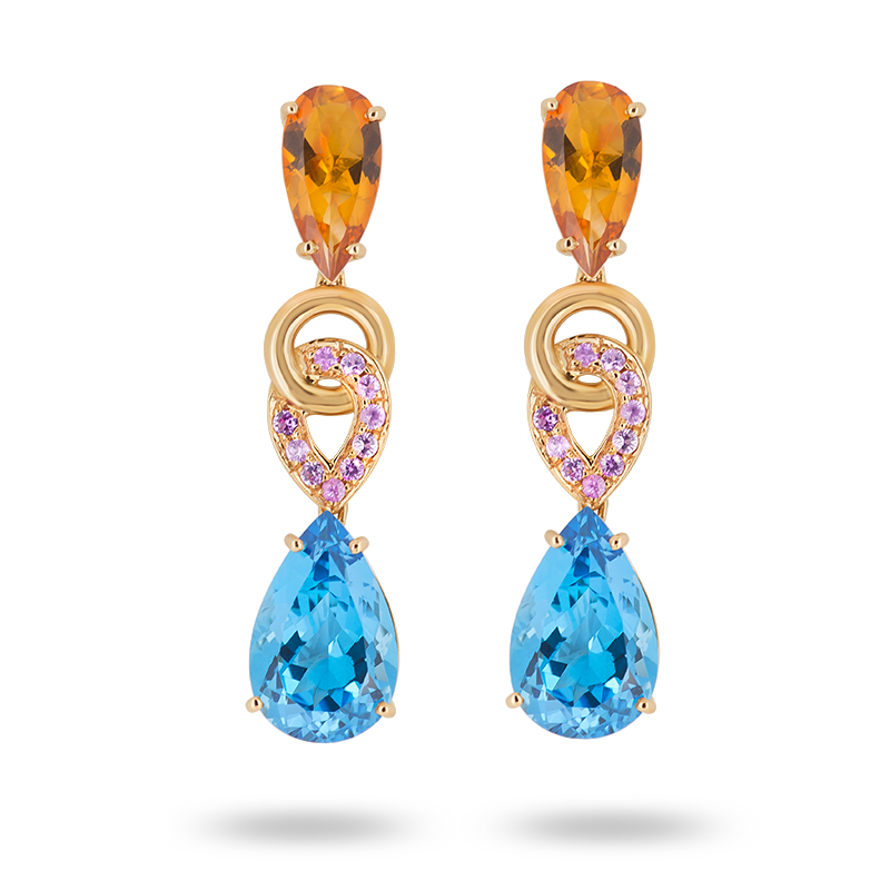 Rose Gold Blue Topaz Pendant
