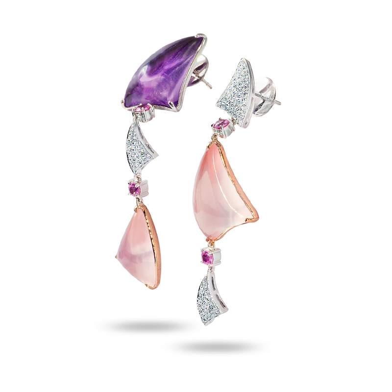 Amethyst and Rose Quarts Earrings