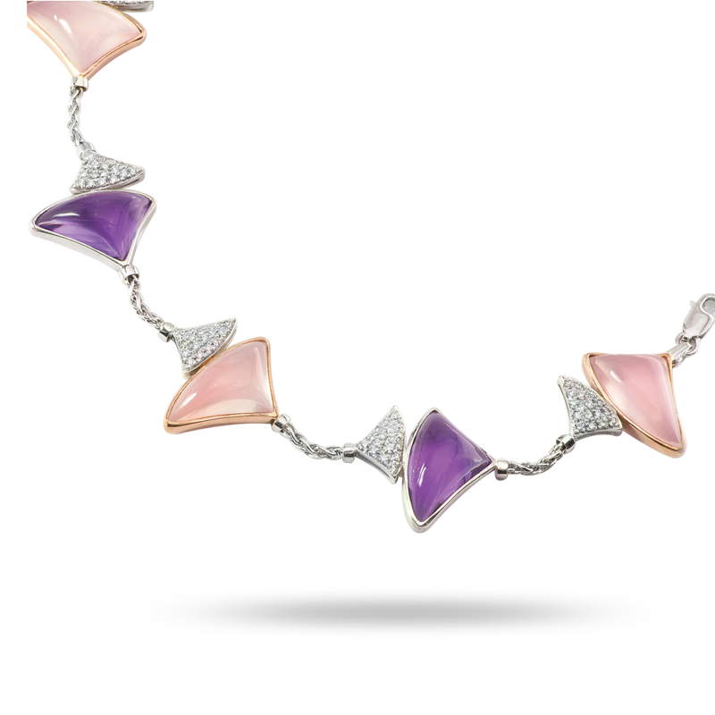 Amethyst and Rose Quarts Bracelet
