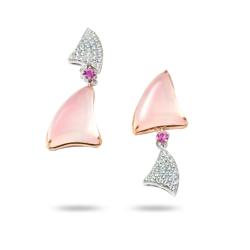 Rose Quarts and Diamond Earrings