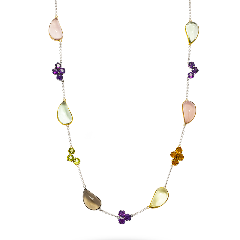 Multi Colored Semi Precious Gemstone Necklace